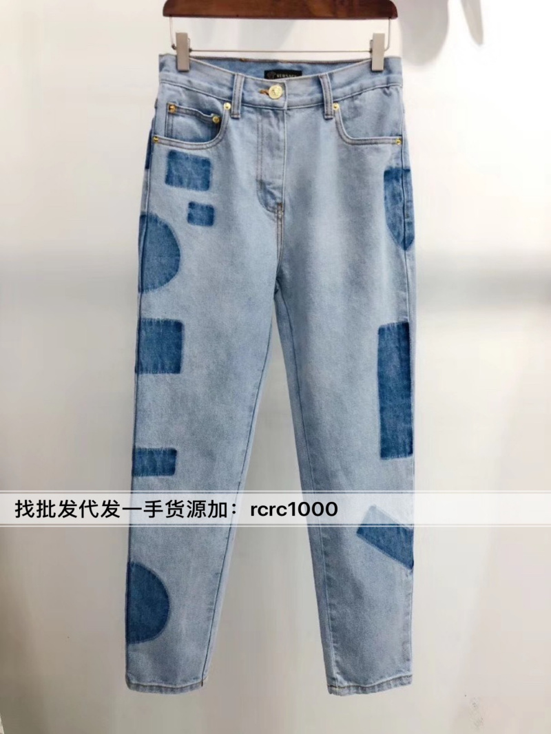 High quality European station spring and summer new 20 heavy industry shadow wash water embroidery color matching straight tube jeans pants