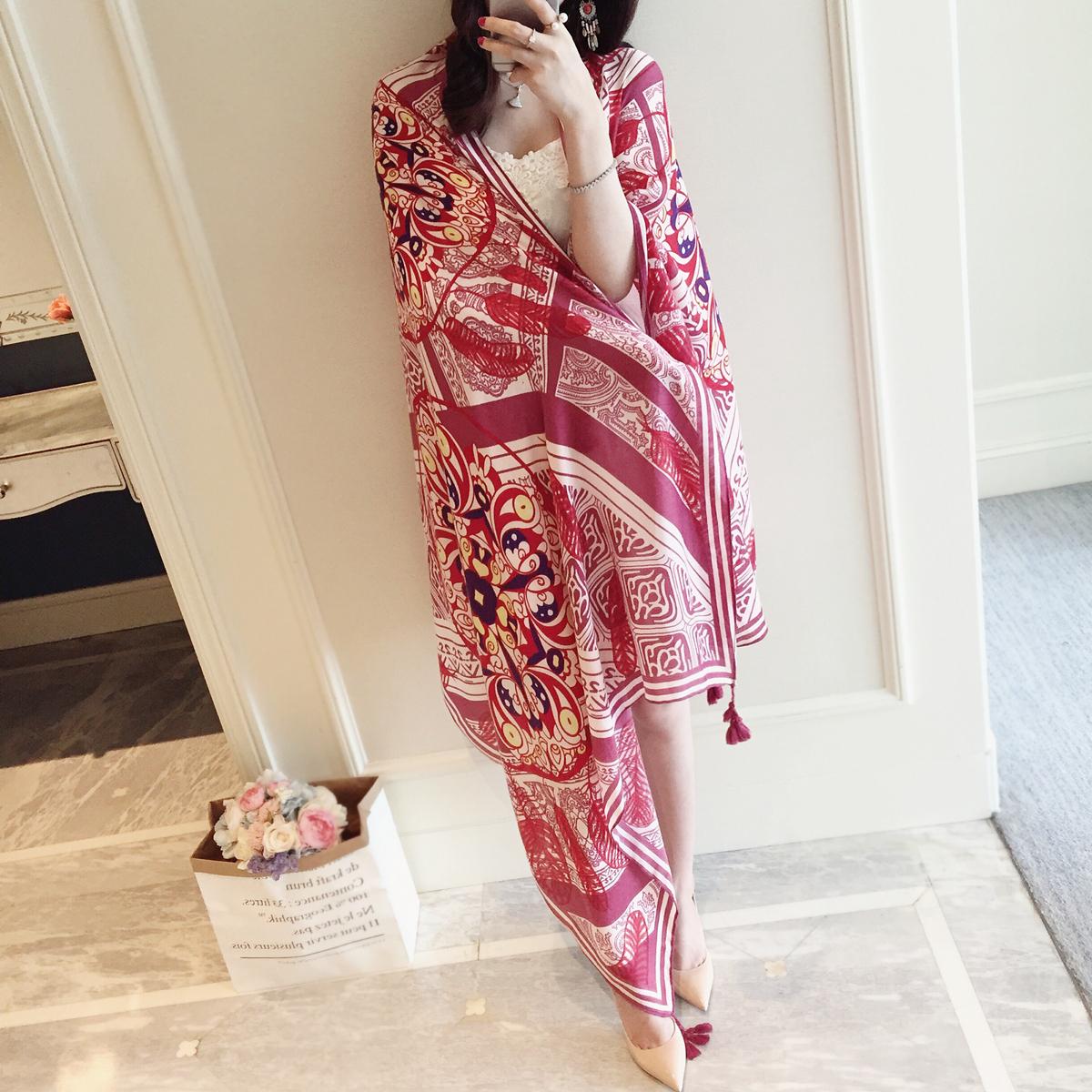 小溜家夏季棉麻红色民族风旅游海边度假防晒围巾披肩丝巾沙滩巾女