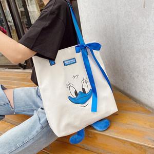 猫猫包袋2020上新款时尚卡通鸭子帆布托特包单肩手提街头个性女包