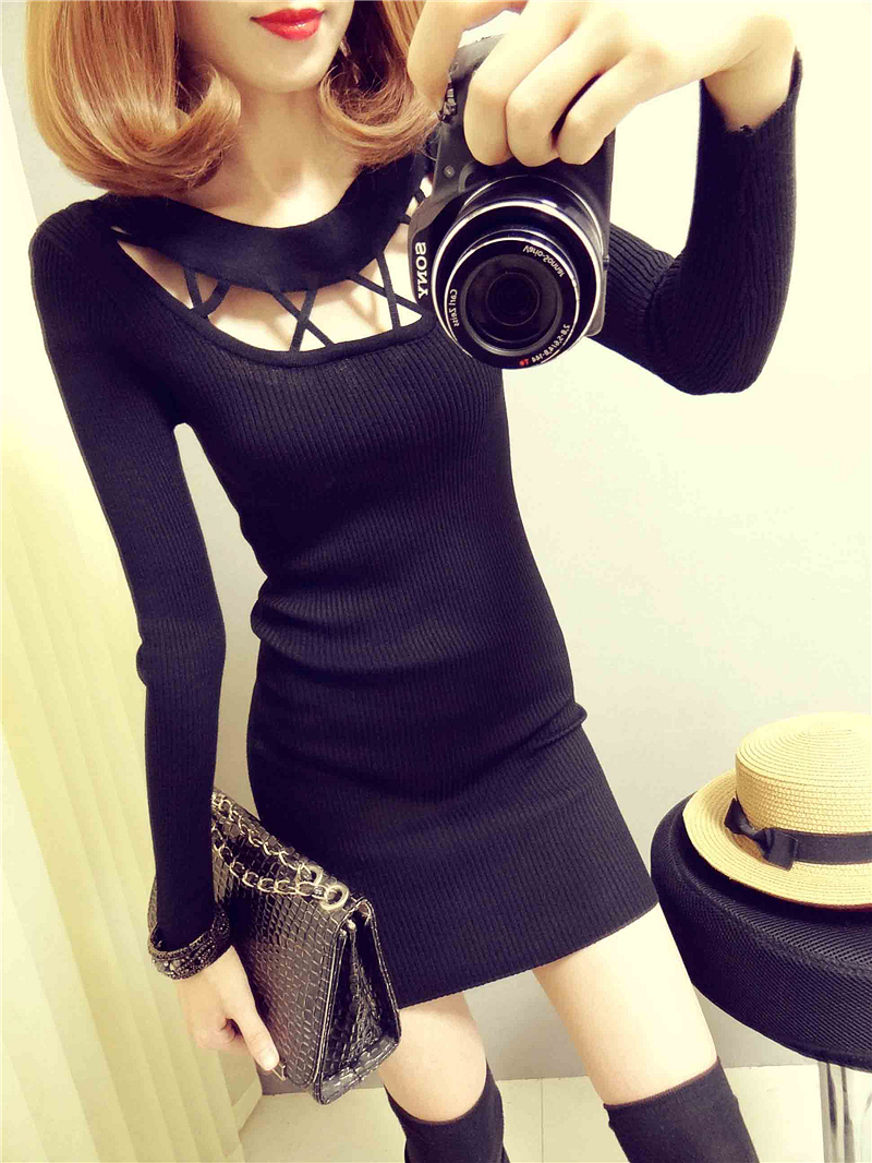 2021 autumn and winter new womens round neck hollow out medium and long Hip Wrap knit slim dress bottomed shirt