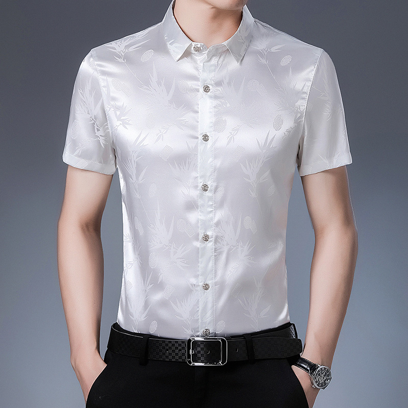 Mens short sleeve shirt printed ice silk cotton middle aged top silk satin thin fathers Silk Top
