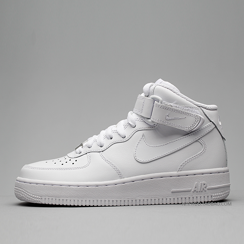 牛哄哄 Nike Air Force1 Mid AF1 全白板鞋 366731-100
