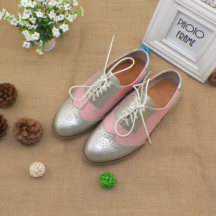 Color shoes shop silver grey color matching British Brock retro shoes womens shoes single shoes flat heel Oxford Shoes hand customized