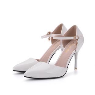 春夏季尖頭小碼高跟鞋313233一字扣包頭涼鞋白色細跟淺口裸色女鞋