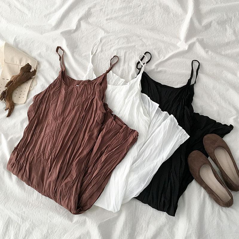 网红皱褶白色连衣裙夏季2019新款女装韩版小个子吊带a字短裙子潮