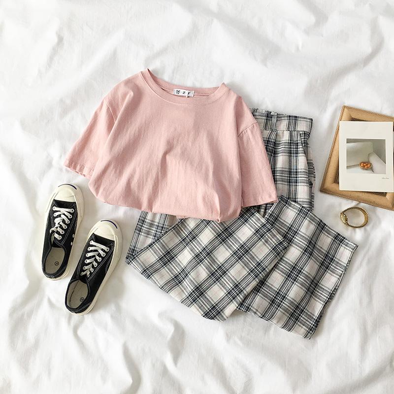 黑牛奶少女~夏装2018新款女装韩版小清新两件套T恤格子裤时尚套装