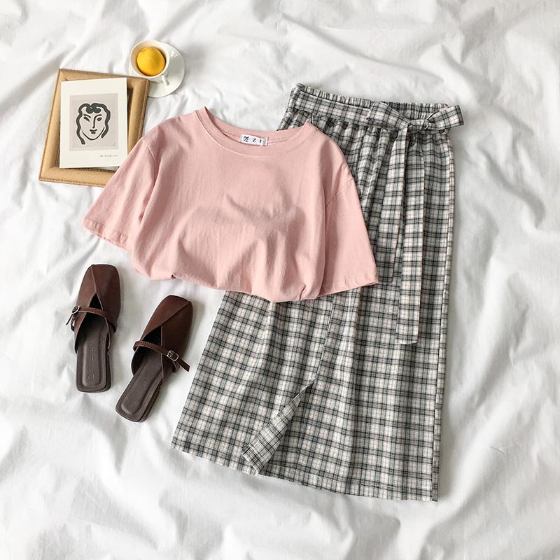 夏装2018新款女装韩版文艺小清新短袖t恤+格子半身裙女时尚两件套