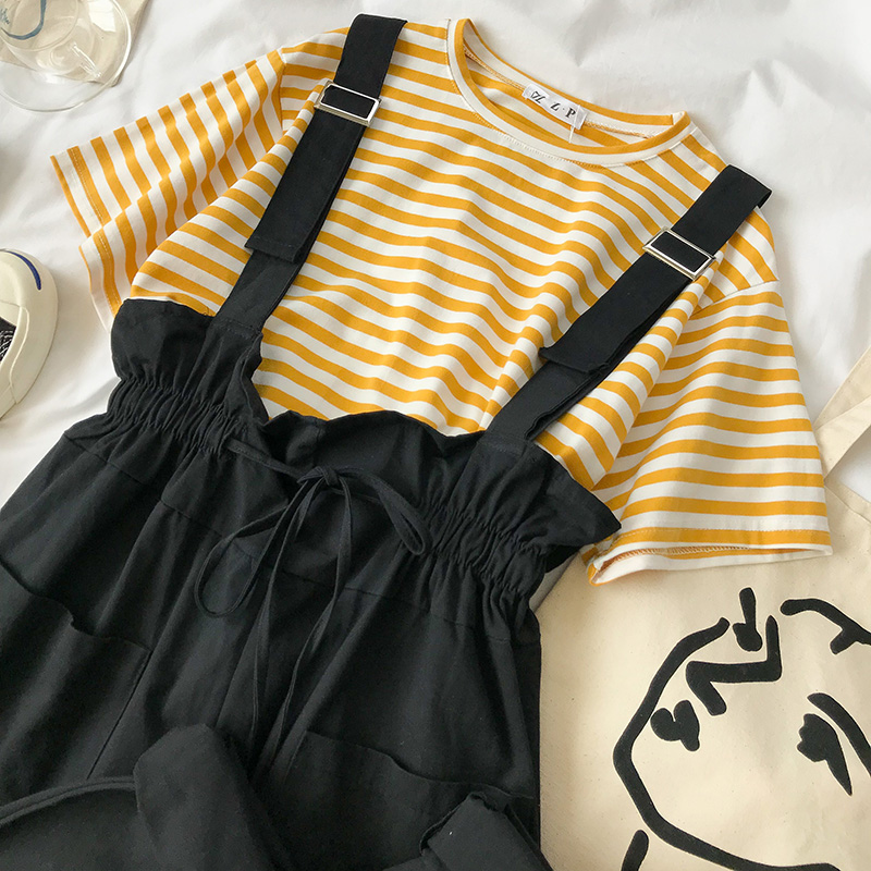 网红秋装2018新款女装韩版时尚套装港味两件套条纹上衣+背带裤夏