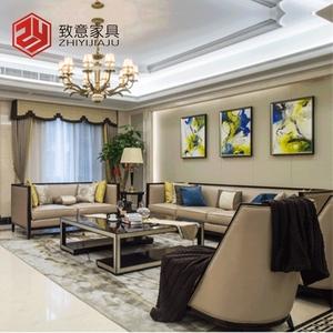 新中式实木布艺沙发组合现代简约禅意客厅样板房别墅住宅家具定制