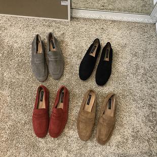 經典推薦休閑韓版絨面樂福鞋紅色深口一腳蹬低幫懶人平底單鞋學生