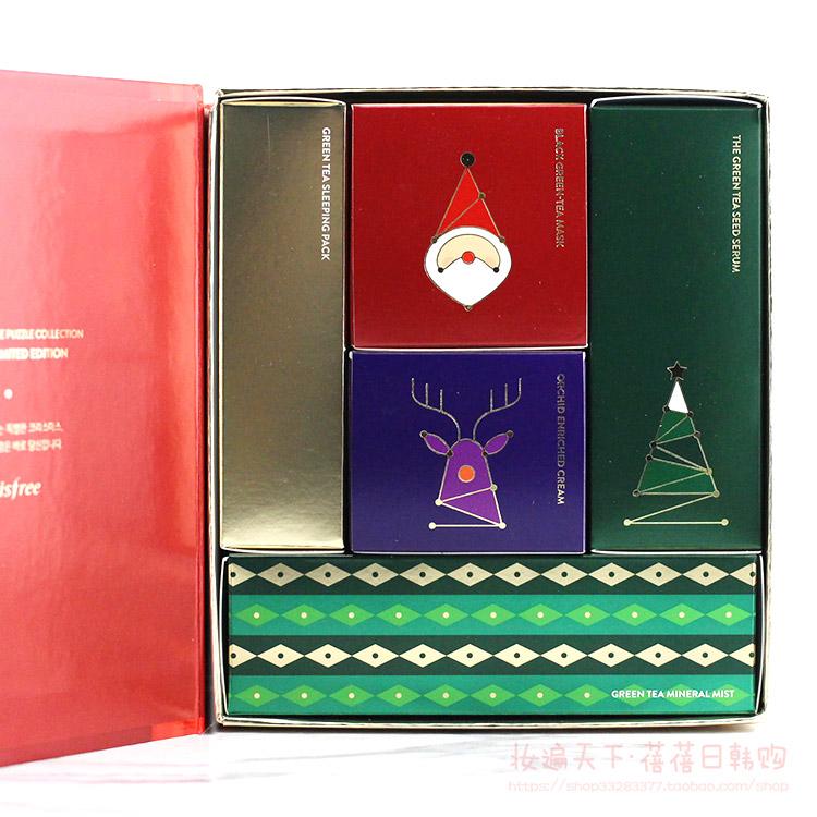 韩国悦诗风吟圣诞限量版小绿瓶精华5件套盒精华洁面面霜图片