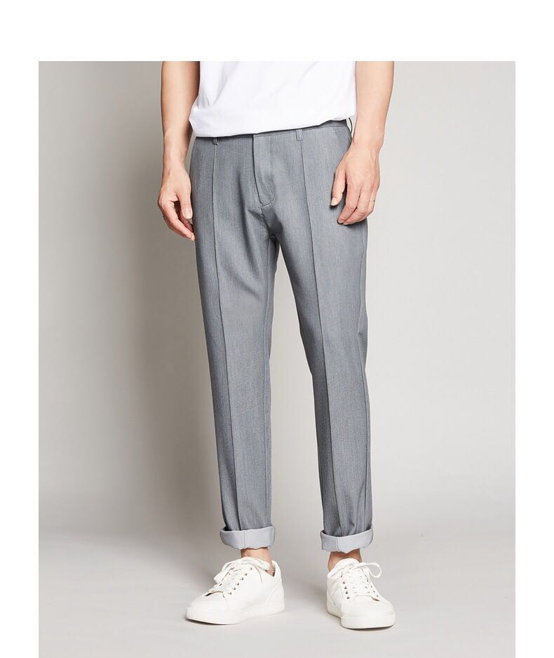 Casual pants mens trend mix and match summer thin 9-point pants, small waist, micro elastic, straight legs, who looks good in them