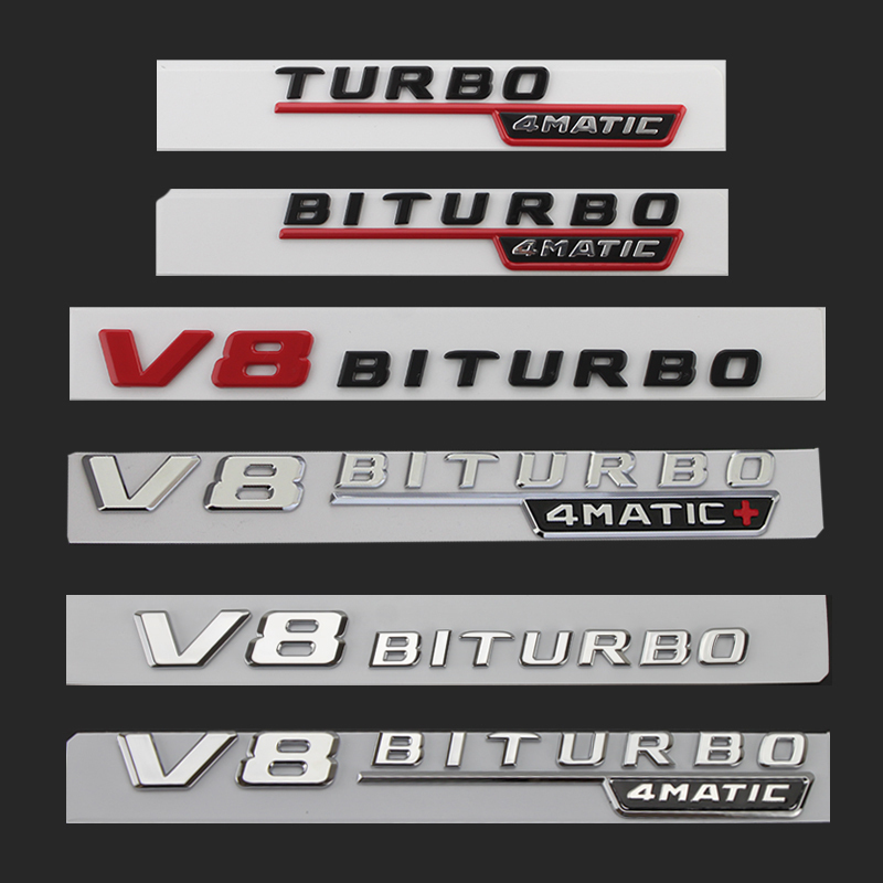 适用于奔驰AMG侧标V8 V12 BITURBO4MATIC车标 叶子板贴改装字标