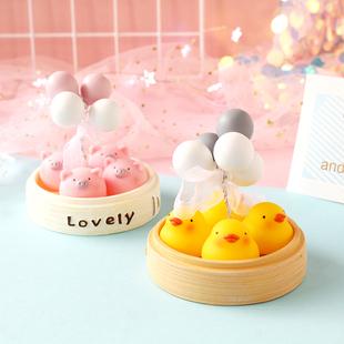 創意可愛卡通軟萌治癒系網紅小黃鴨氣球車載裝飾品擺件女生禮物