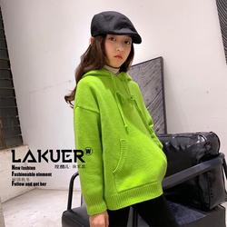 【5折】LAKUER拉酷儿2019冬中大童男女童连帽羊毛毛衫针织衫