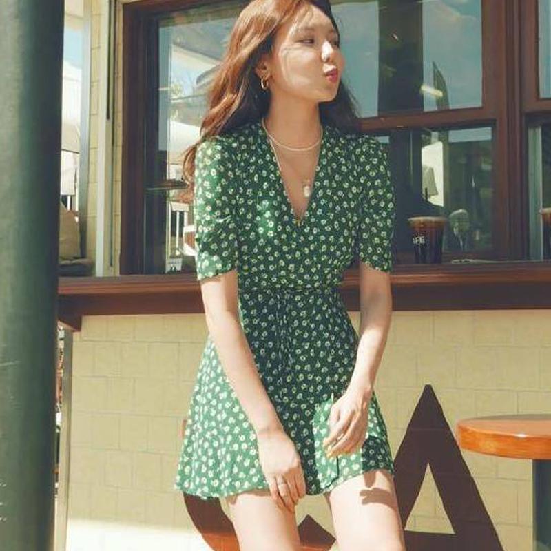 reformation明星同款绿色碎花V领雪纺法式连衣裙女夏一片式小个子(非品牌)