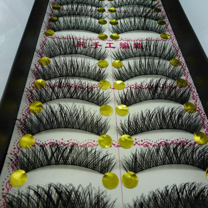 Ручной работы ложные ресницы Японии хлопок хвост длиннее пересечение густой черный терьер глаза естественный обнаженной макияж 224 мешки почты