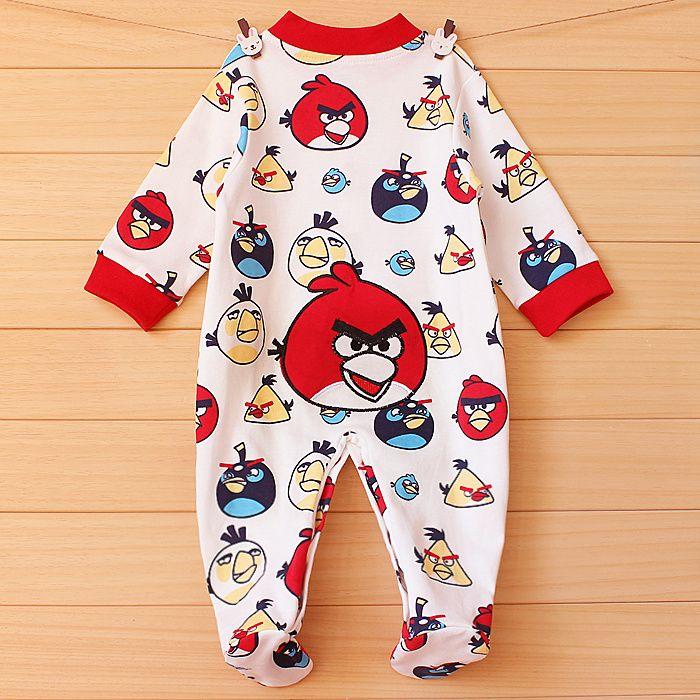 Электронная почта осень Комбинезоны комбинезон baby Сердитые птицы младенческой длинным рукавом равнине хлопка ног платье Одежда для новорожденных младенцев