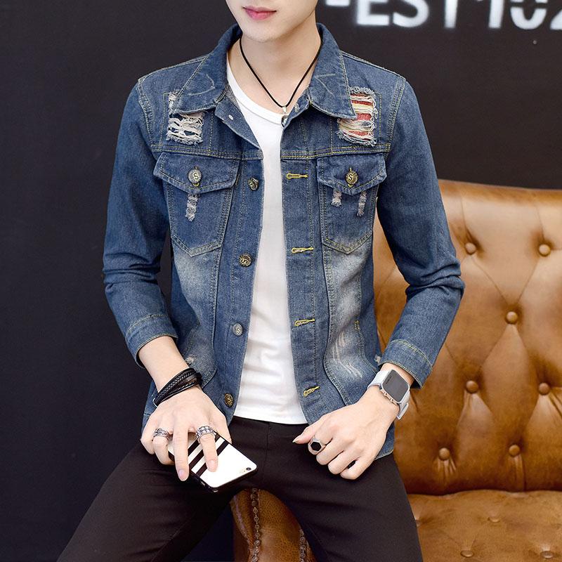 2017初秋季韩版夹克外套男青年学生潮流个性破洞修身帅气牛仔衣褂
