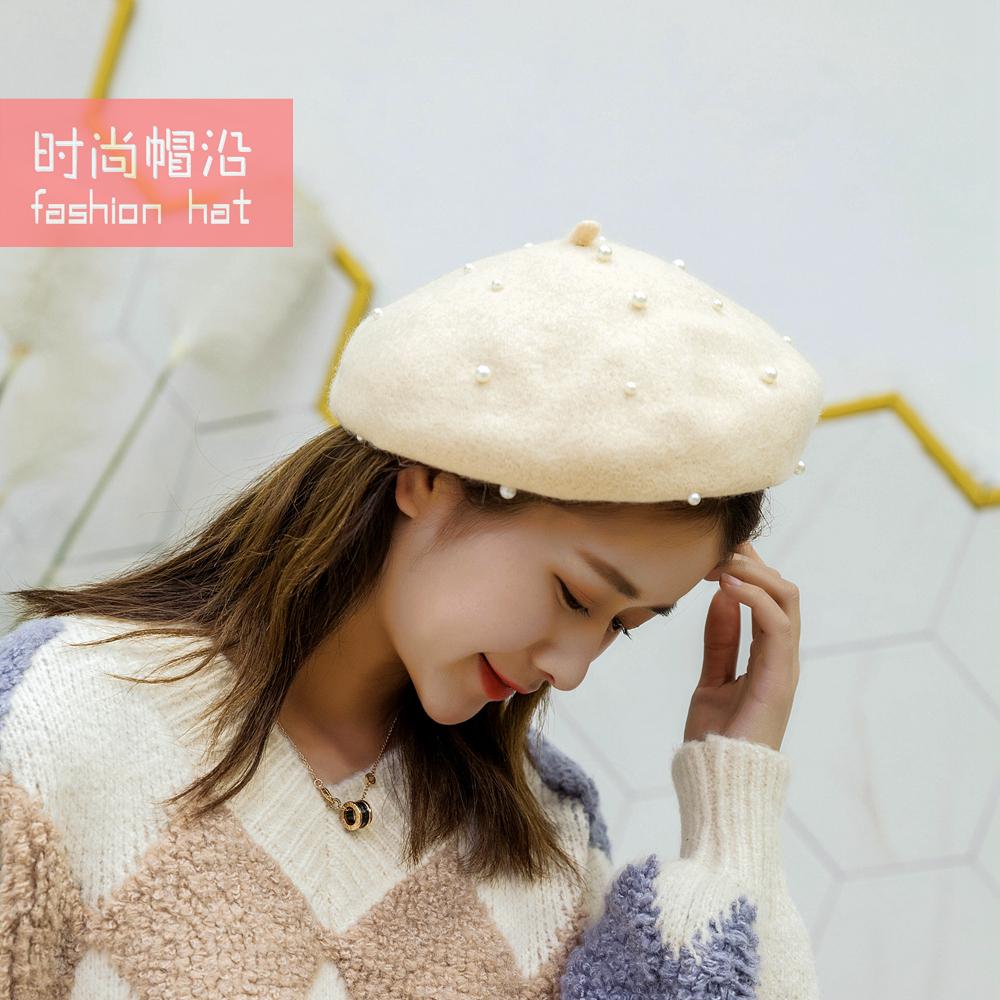 Hat girl autumn and winter fashion cashmere Beret Girl Korean versatile pumpkin pearl hat British Japanese parent child spring