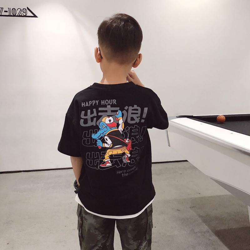 2019新款夏装儿童装国潮男童趣味卡通短袖T恤衫中大童潮半袖体恤10-09新券