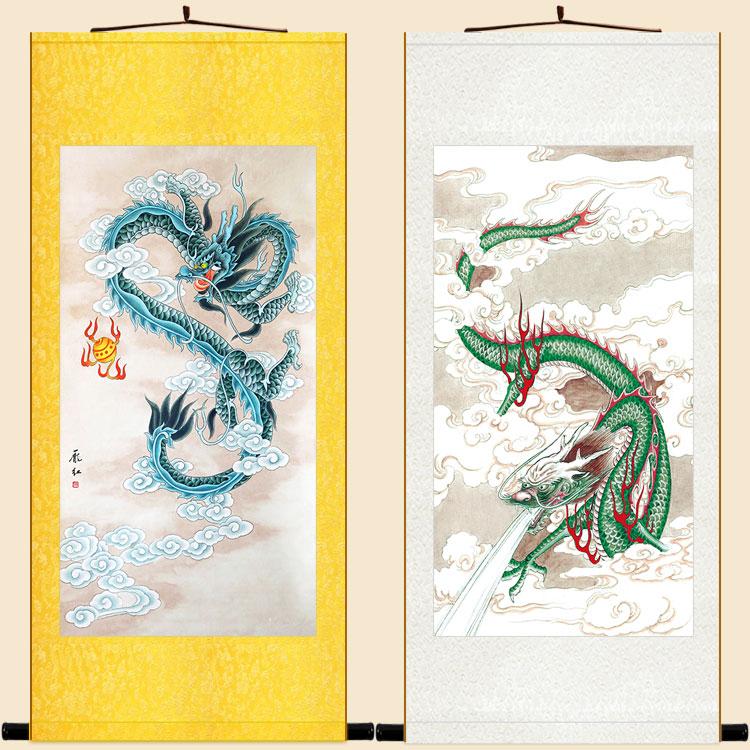 定制絲綢畫客廳裝飾畫復古卷軸掛畫像青龍汲水風水畫青龍戲珠圖