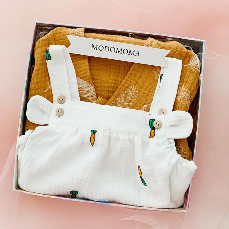 新生儿礼盒婴儿衣服用品夏男女宝纯棉纱内睡衣和尚服套装满月送礼
