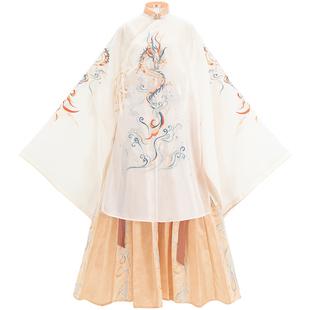 漢尚華蓮應潮生漢服女正品明制長衫騰龍刺繡一片式褶裙中國風夏季