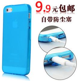 9.9包邮苹果iphone5s手机壳自带防尘塞果冻软壳清水套 硅胶保护套