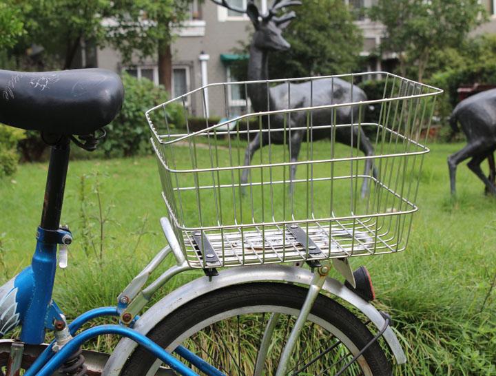 正宗不锈钢 自行车后车篮 自行车车篮 后车筐 货架车篮 可放书包