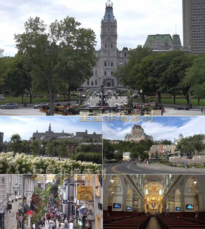 Live video material of the street crowd in the old city of Quebec, Canada