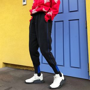 饭桶张  运动<span class=H>棉裤</span>女2017冬季加绒加厚长裤休闲宽松拼接中性哈伦裤