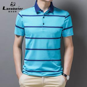 莱诗伯特桑蚕丝男士短袖t恤夏季中青年半袖衬衫冰丝衬衣polo衫