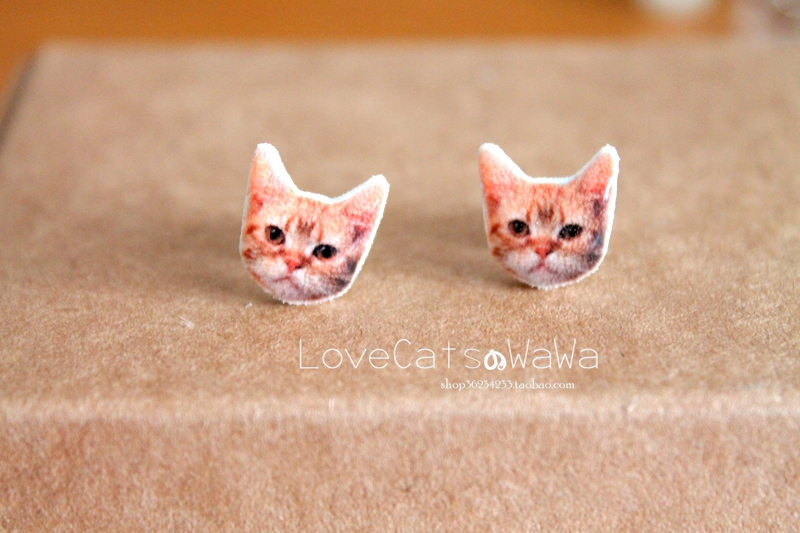 Baby hand made meow star American short hair cat yellow tiger patch earring 925 silver cute ear clip without ear hole