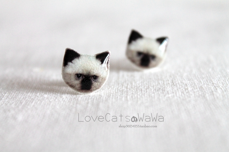 Baby hand made meow star man Himalayan cat Ear Stud 925 Tremella ornament cute ear clip without ear hole