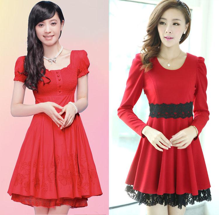 Summer and autumn Princess lace dress temperament slim dress red bridal dress toast dress