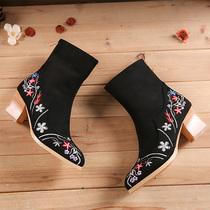 老北京布鞋女靴子复古民族风绣花鞋高跟短靴女鞋单靴刺绣清仓