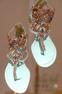 2014 Spring color blue gem diamond pinch flat shoes leather sandals