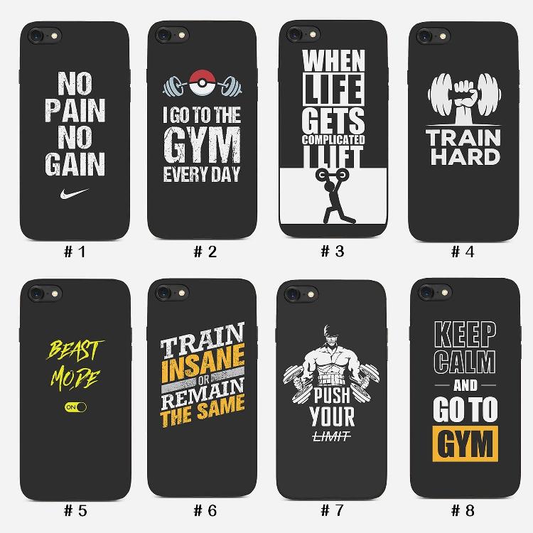 运动健身励志苹果x手机壳创意英文字母gym华为p20 iPhone8plus vivox21男肌肉减肥女激励7 oppo三星s8 9小米8