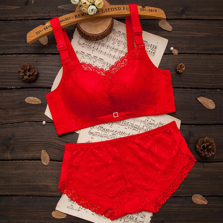 红色本命年内衣套装女士都市结婚加厚小胸聚拢丽人无钢圈文胸新娘