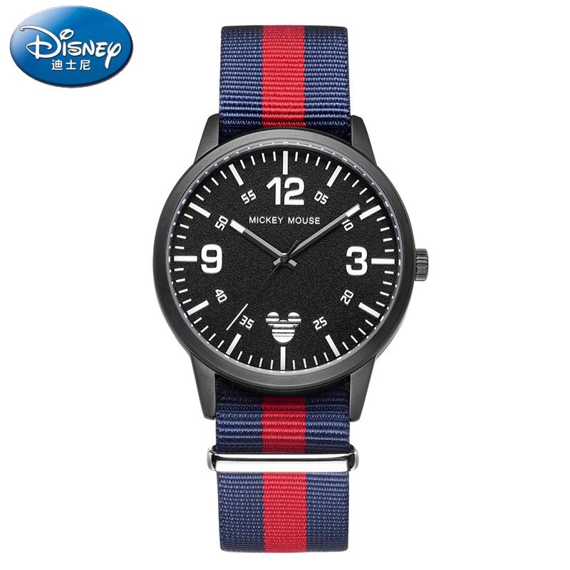 正品迪士尼手表男帆布表带休闲时尚运动手表超薄复古青少年石英表