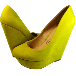 Within Australia INNIU CATWALK microfiber leather in yellow waterproof ultra high slope with heavy bottomed shoes women