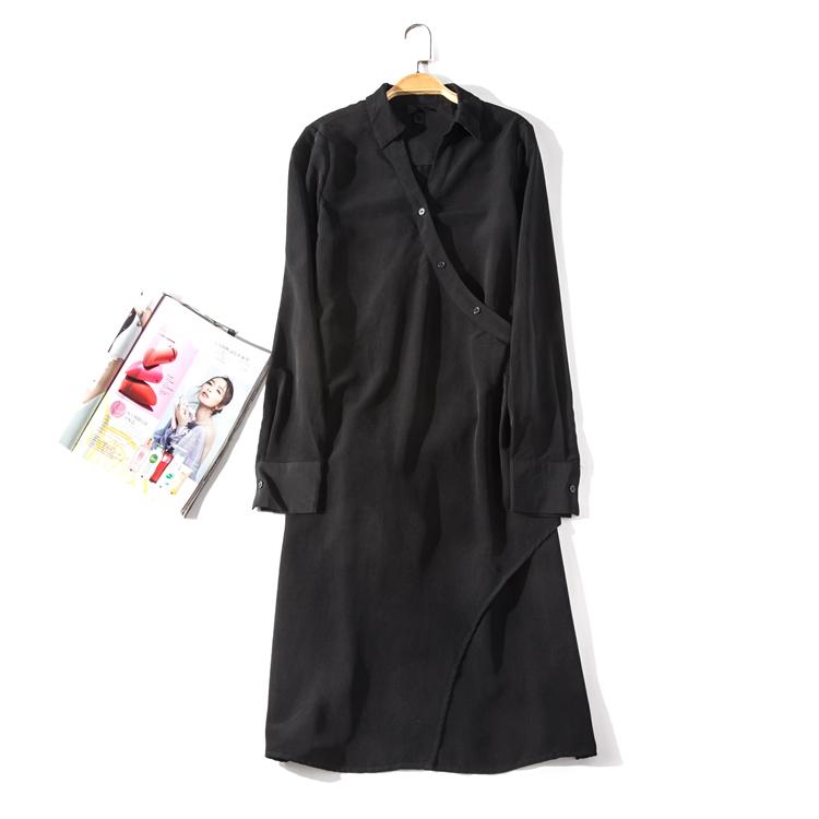 出口欧美单女装胸围96-126cm翻领斜边扣长袖长款衬衫连衣裙U125D