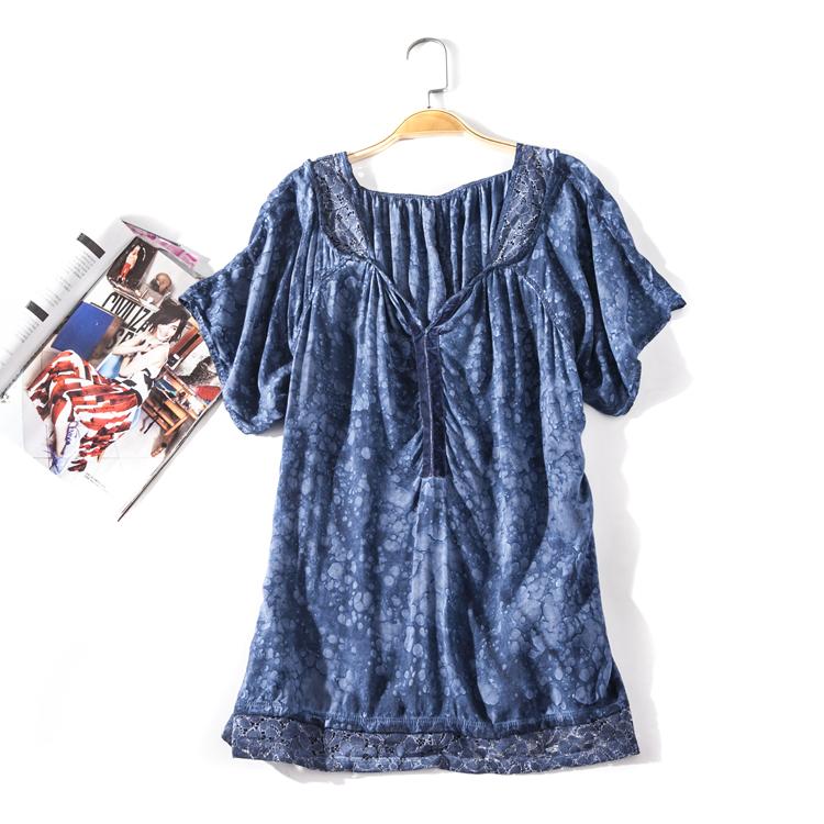 出口欧美单女装胸围114-150cm V领插肩短袖花色套头T恤女I267D