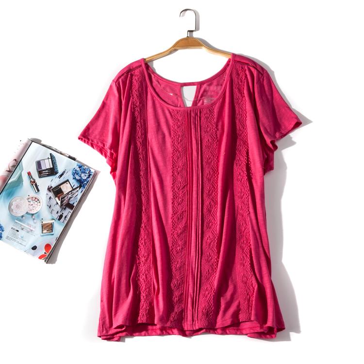出口欧美单女装胸围114-148cm 圆领纯色胖MM大码T恤女D1023