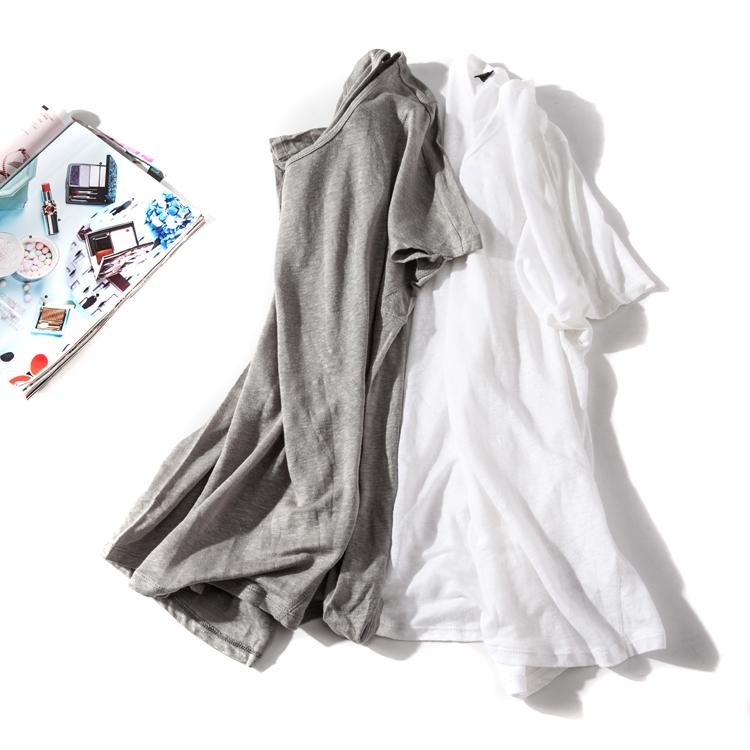 出口欧美单女装胸围102-144cm 圆领短袖纯色亚麻T恤女D1003