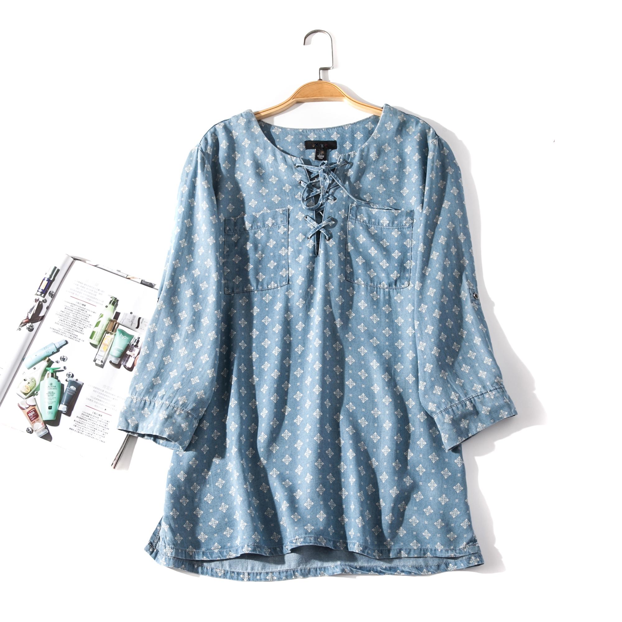 出口欧美单女装胸围106-112cm  圆领系带长袖套头衬衫女U248