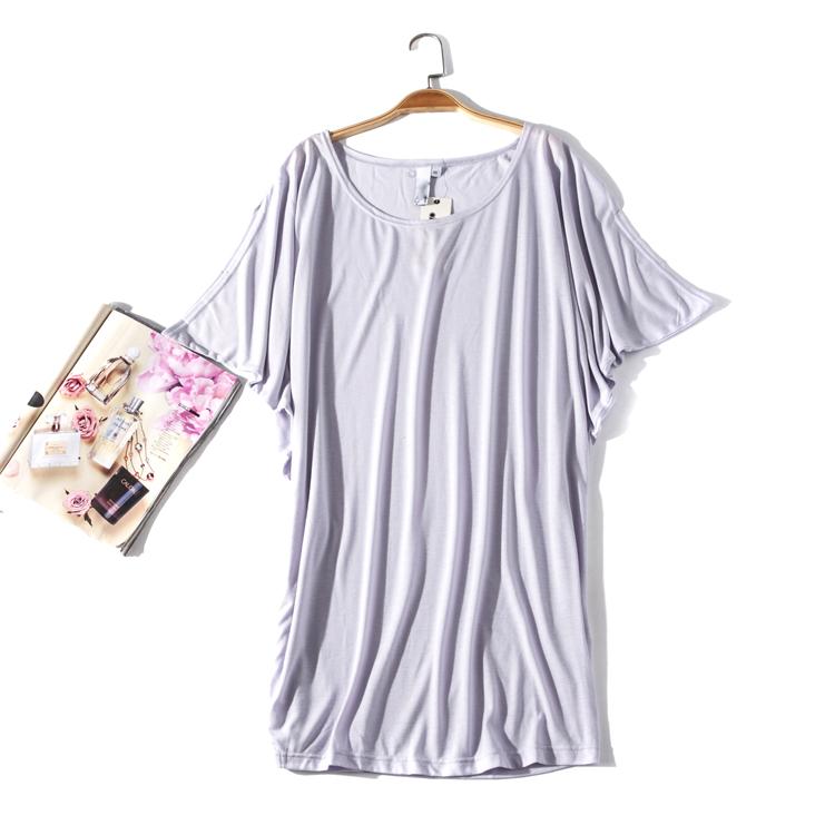 出口欧美单女装胸围164-194cm 纯色蝙蝠衫女超大码T恤I134E