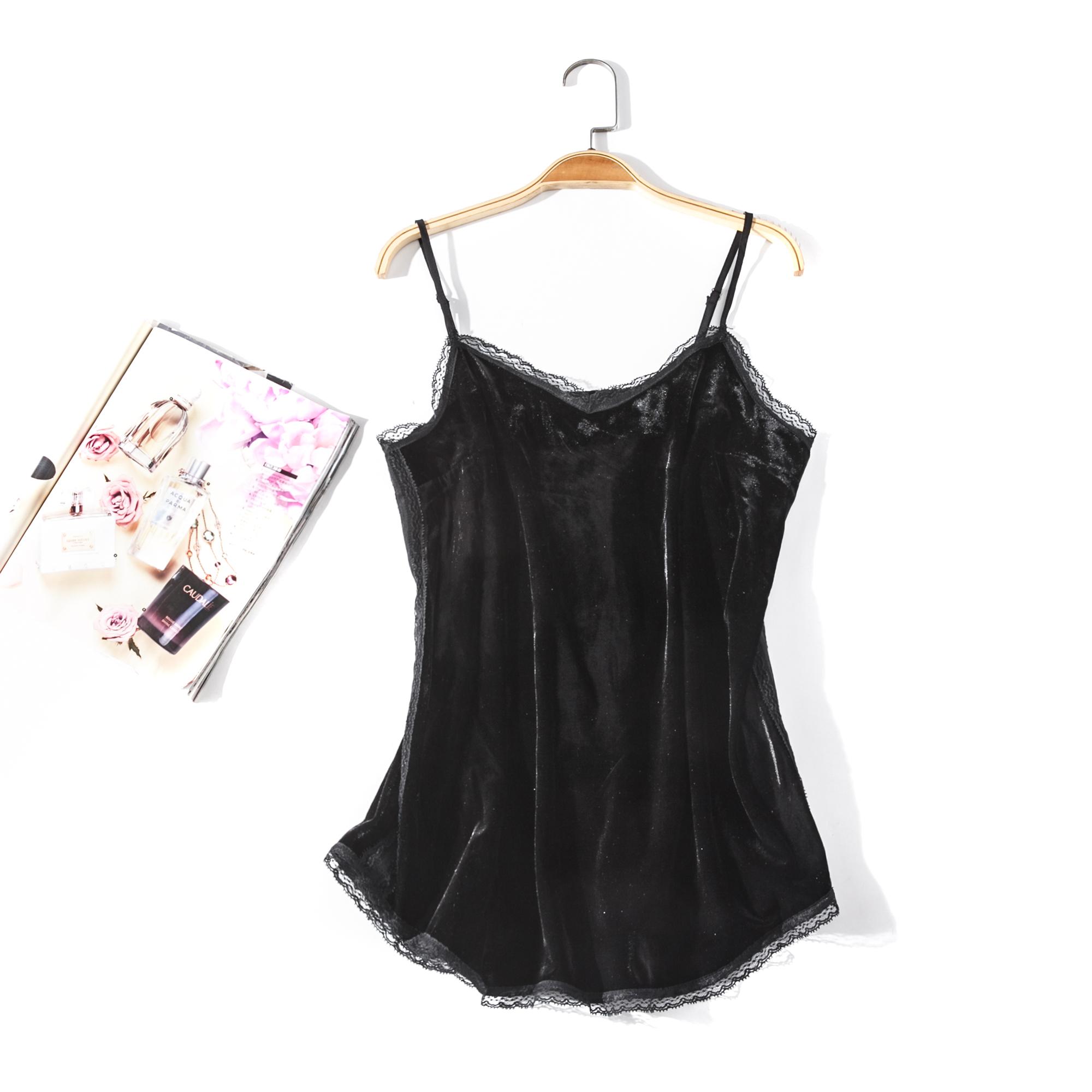 出口欧美单女装胸围80-132cm纯色蕾丝边丝绒背心女大码吊带F773