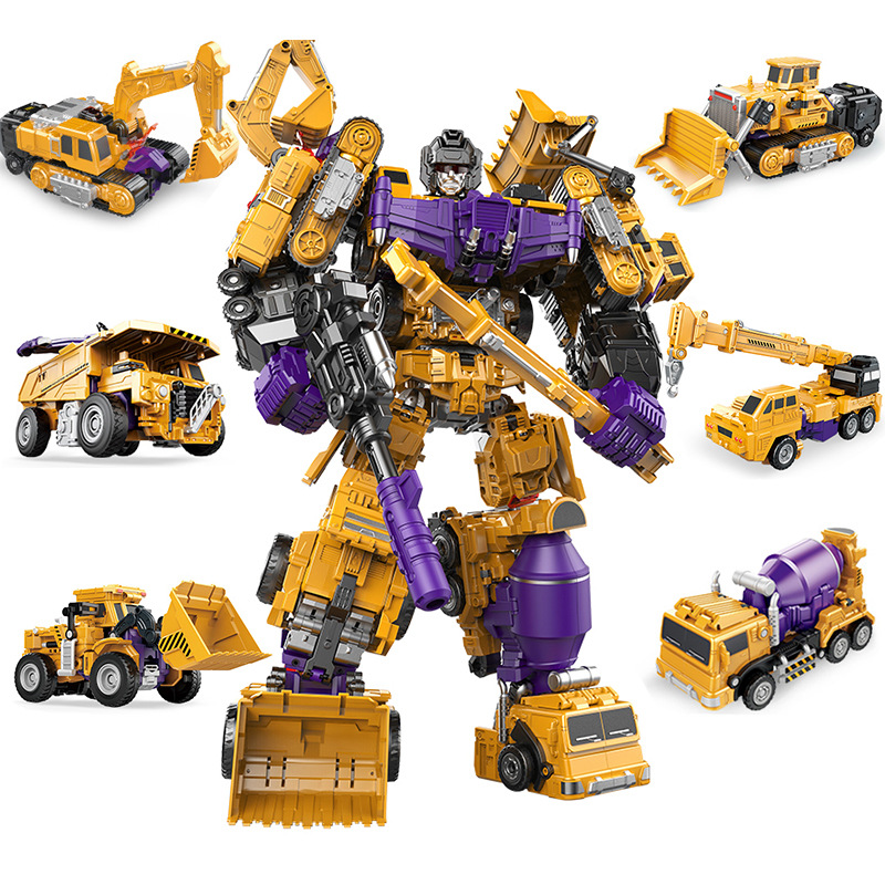 凌速-儿童玩具变形工程车大力金刚系列机器人模型六合一套装玩具